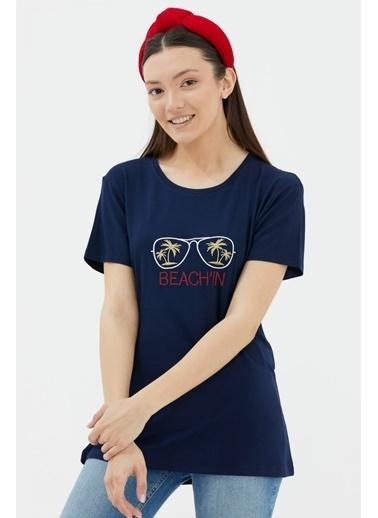 Sementa Nakışlı Dökümlü Tshirt - Lacivert Lacivert